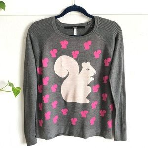 Kensie Soft Knit Sweater Blouse with Squirrels